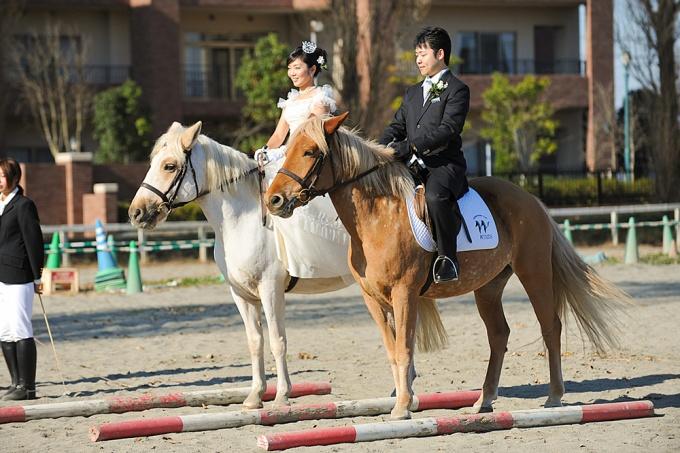 大好きな馬に囲まれて祝福されるウエディング