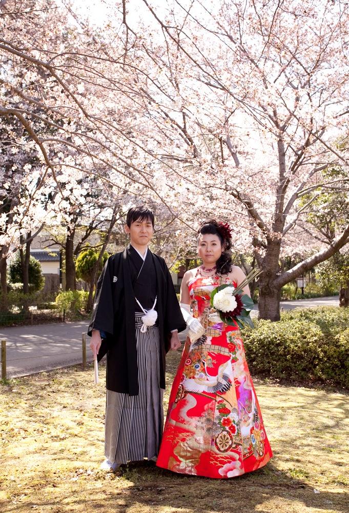 自毛で結った新日本髪にオリジナルの和ドレス