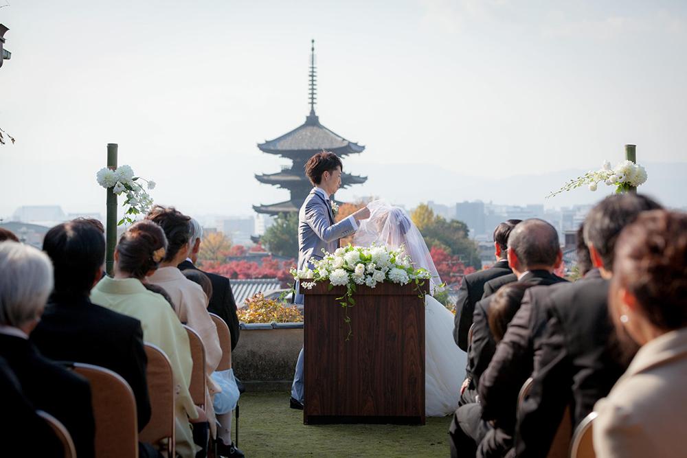 晩秋の京都を望む老舗料亭「京大和」での古都ウェディング